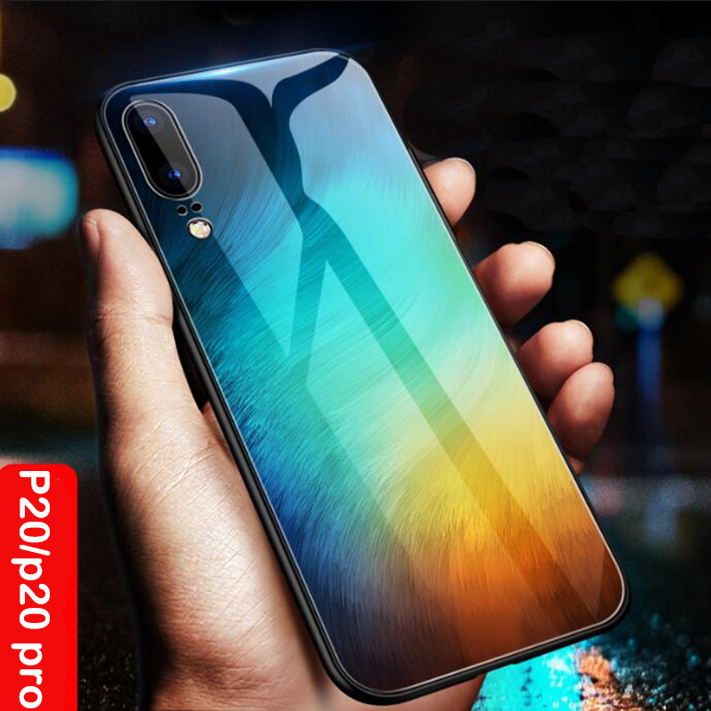 separation shoes f3bf8 3a403 Aixuan for Huawei P20 Glass Case Huawei P20 pro Coque Silicone Shock Proof  Luxury Slim Tempered Glass Cover for huawei P20 back