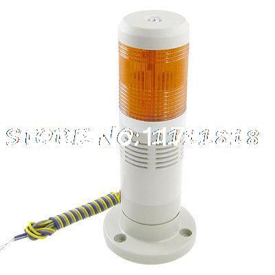 Industrial Yellow Tower Lamp Buzzer Alarm Warning Light 12V DC Wszlr dc24v tower buzzer warning red green led industrial warning light