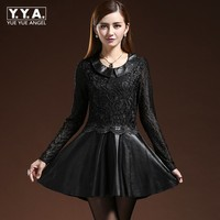 Brand 2019 New Spring Sexy Black Crochet Lace Dress Genuine Leather Pleated Mini Dresses Office Party Ladies Formal Vestidos