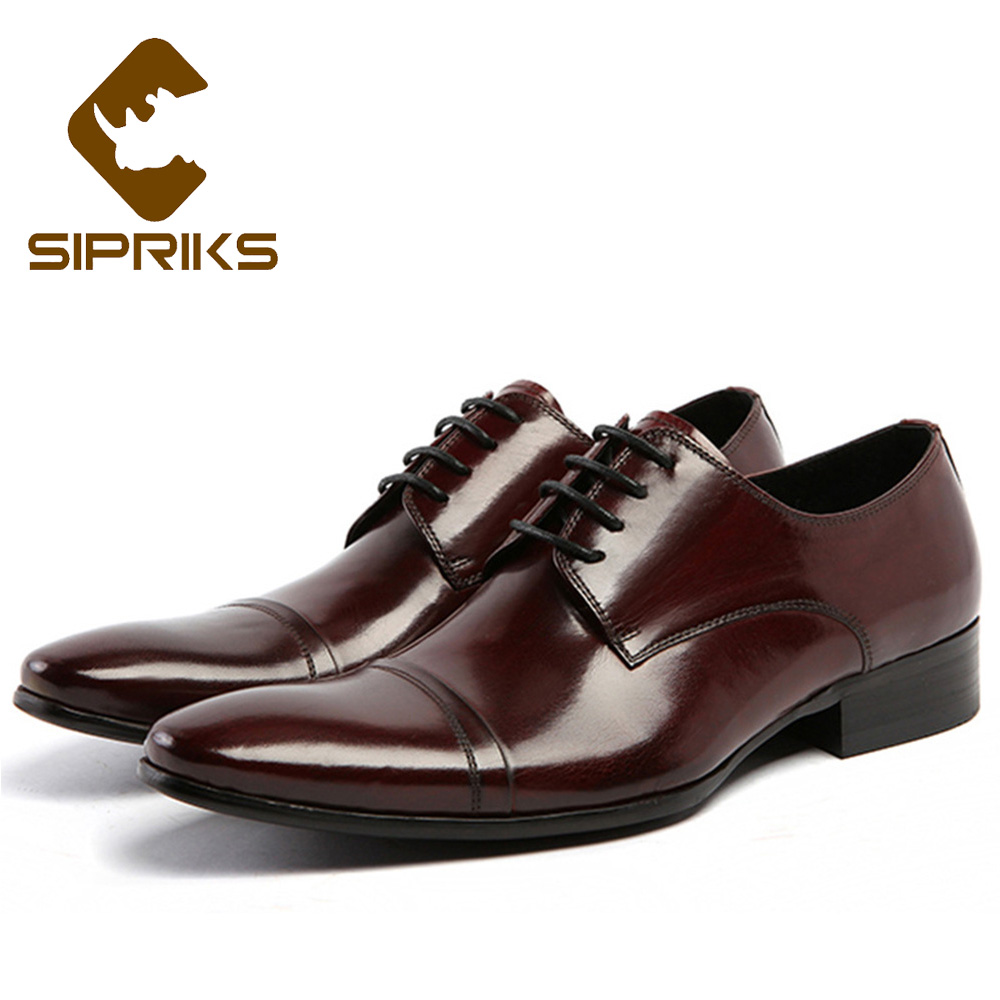 Sipriks Classic Real Leather Dress Shoes For Men Pointed Church Shoes Elegant Black Business Work Shoes Boss Office Derby Shoes sipriks luxury mens braided leather shoes elegant mens woven derby shoes genuine leather dress shoes boss official business work