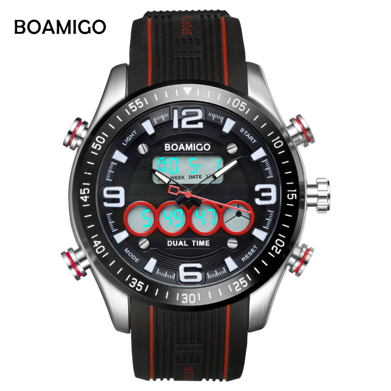 BOAMIGO Top Brand Luxury Dual Display Watches Mens Military Quartz Watch Men Shock Resistant Sports Style Digital Clock Relogio