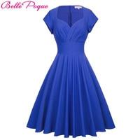 Belle Poque Women Dress 2017 Summer Ball Gown Blue Vintage Retro Rockabilly Dresses Short Sleeve V