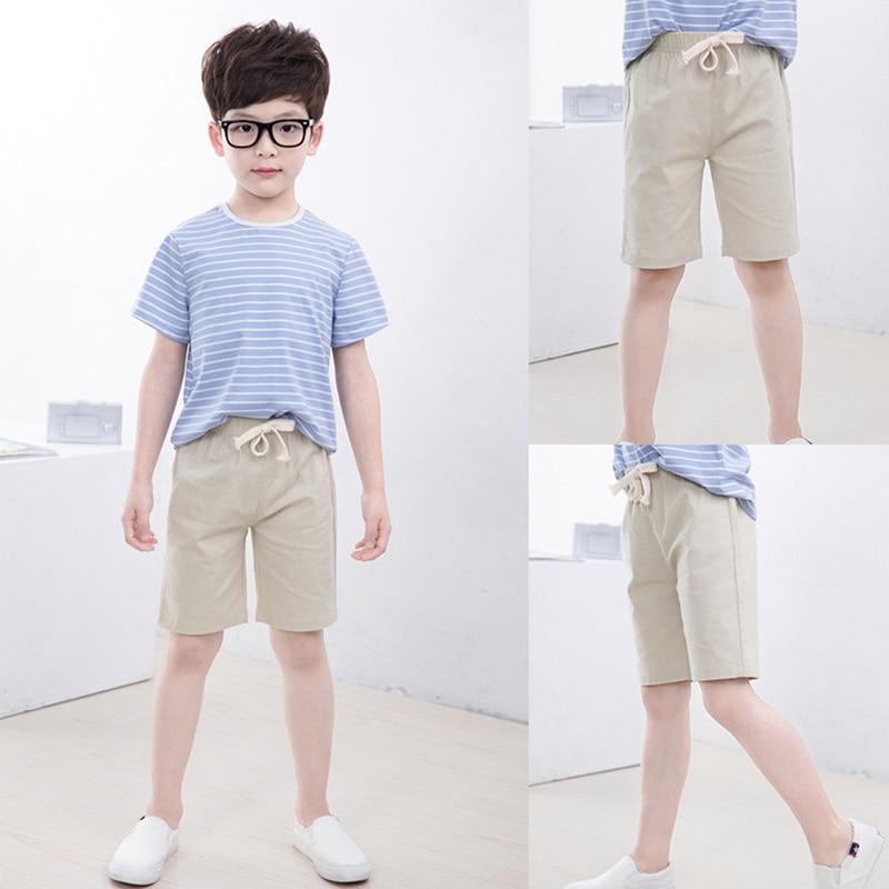 2-10 Yrs Kids Boys Trousers Knee Lenth Shorts Candy Color Girls Children Summer Beach Loose Shorts Pants Cotton&Linen 4