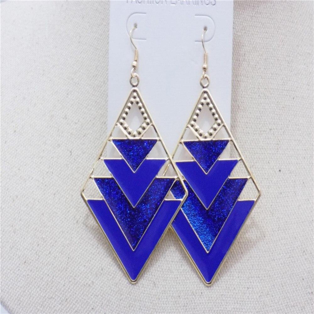 New Women Fashion Long Earrings For Women 5 Colors Vinage Geometric Irregular Enamel Drop Dangle Earrings Ear Hook Jewelry Gift