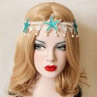 Fashion Handmake Bridal Flower Crown Hair Garland Starfish White Lace Wedding Headband Women Hairwear Head Accessorie