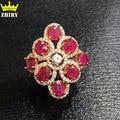 Piedra Natural gemas de Rubí anillo Genuino anillo de plata 925 joyería de las mujeres