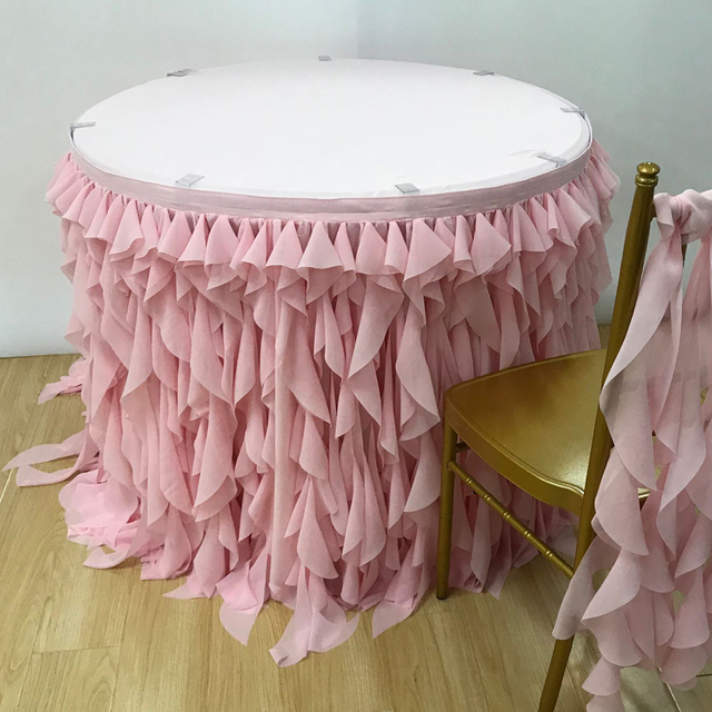 Exceptionnel Free Shipping 10 Ft L Willow Ruched Table Skirt Chiffon Ruffle Table Skirt  New Design Luxury