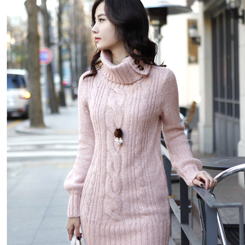 Winter New Women Sweater Long Paragraph Slim Big Size Turtleneck ...
