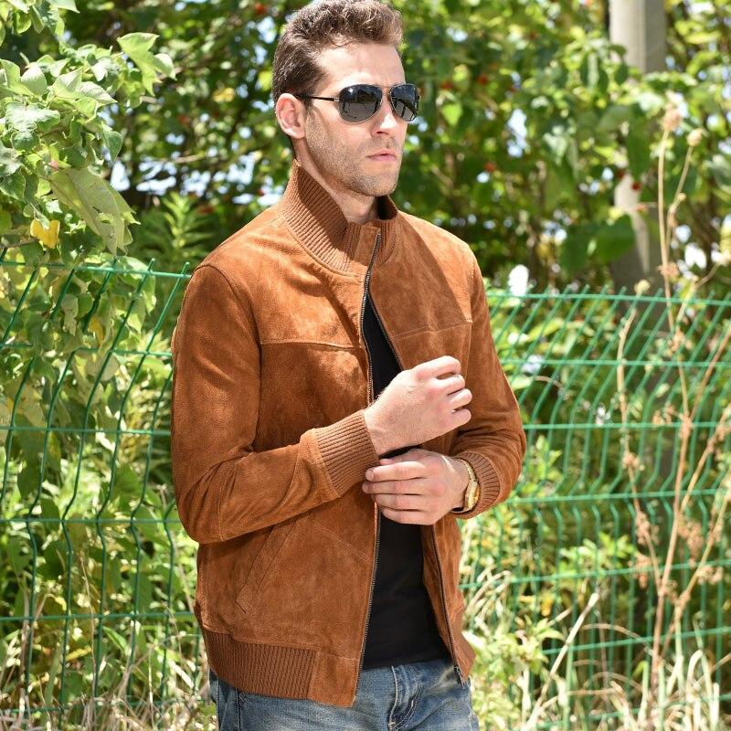 Saveur hommes veste en cuir véritable hommes Pigskin Slim Fit manteau en cuir véritable avec manchette nervurée col debout - 5