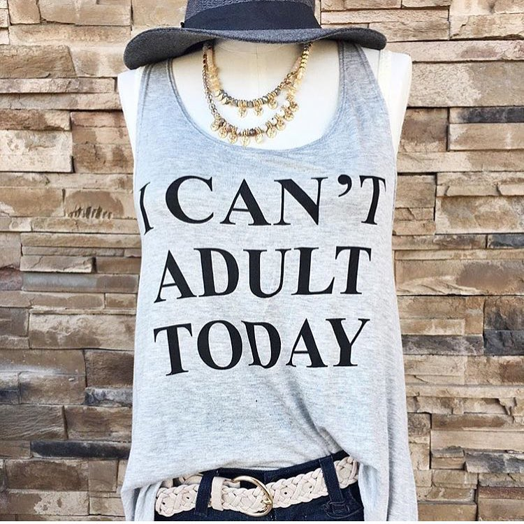 I CAN'T ADULT TODAY Vest Tops Letter Printed Sexy Debardeur Femme Tank Top For Women Causal Tees Loose Funny Top Camis 1