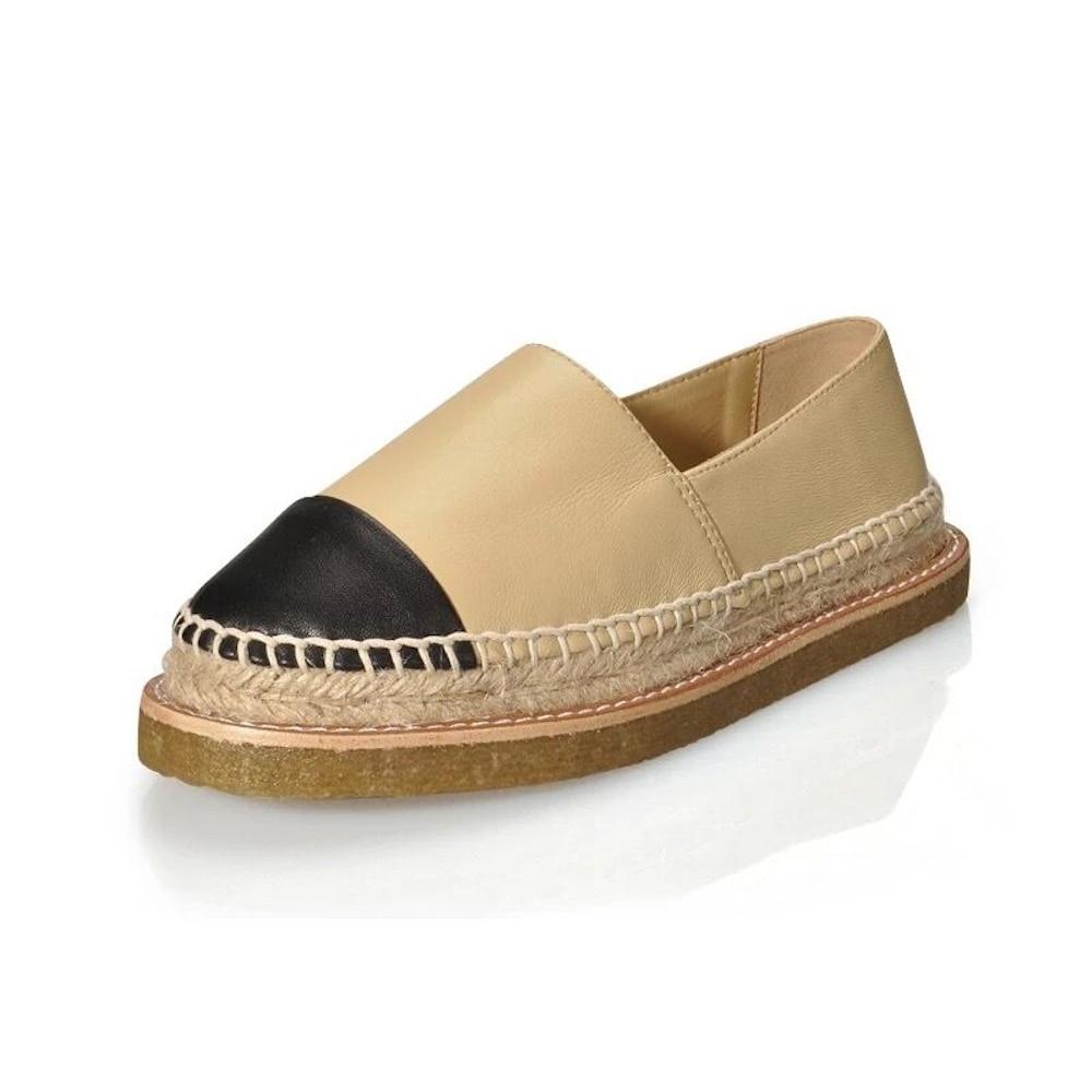 จริงหนังผู้หญิงรองเท้า Espadrilles ยี่ห้อ Comfort รองเท้าแบนคุณภาพสูงผสมสี Casual Loafers ขนาดใหญ่ 34 42 รองเท้า-ใน รองเท้าส้นเตี้ยสตรี จาก รองเท้า บน   1
