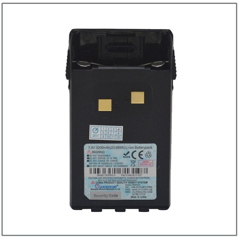 WOUXUN BLO 007 DC7.4V 3200 мАч высокой Ёмкость Li Ion Батарея пакет для WOUXUN KG UV6D KG UVD1P KG 699E KG UVA1 с зажимом для крепления к поясному ремню