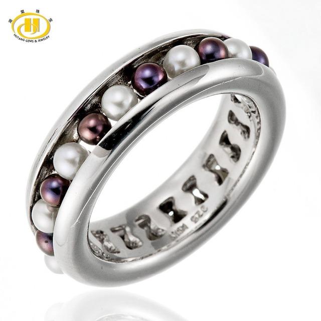 Hutang multicolor Perlas de Agua Dulce de Plata Esterlina del Sólido 925 Anillo de la Venda Conjunto Completo Fina Joyería HuTang