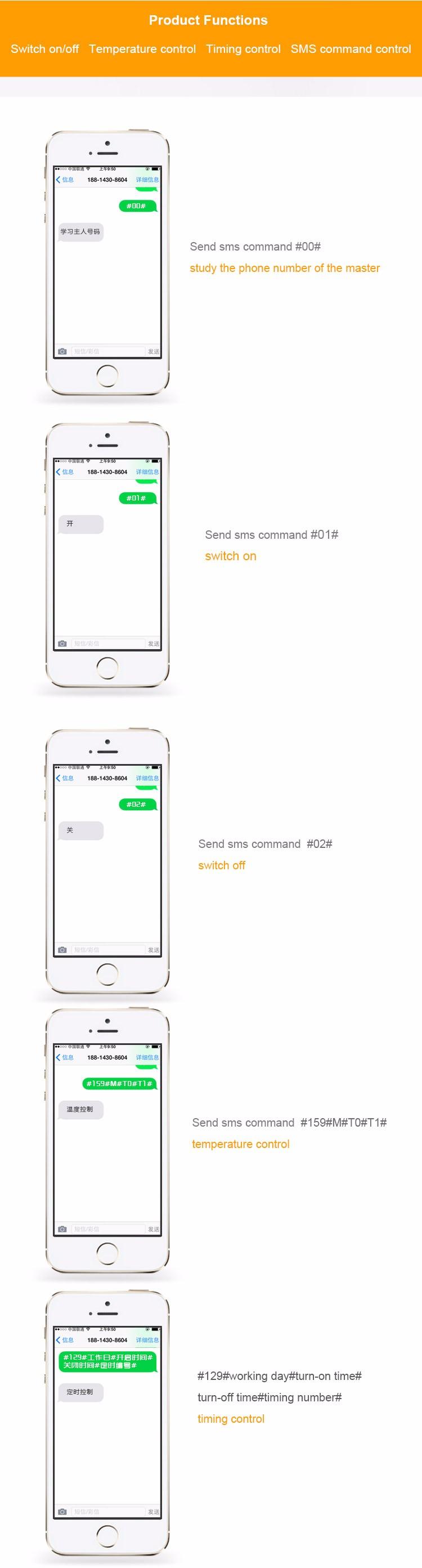 GSM умный розетка розетка мобильный телефон английский русский СМС ГРМ дистанционного управления переключатель регулятор температуры с датчиком