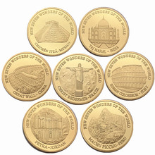 24k Gold Plated Coin Seven Wonders Of The World Colosseum Italy Best Collection Business Gift For Friends Home Decoration
