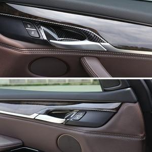 Image 4 - Puxador para maçaneta de porta em abs, 4 unidades, estilo de carro, abs, fibra de carbono, tigela, guarnição para bmw x5 f15 x6 f16 2014 2015 2016 2017 2018