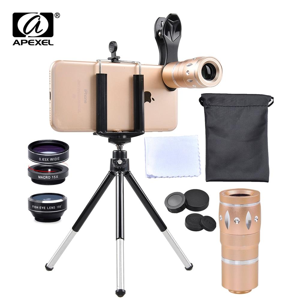 imágenes para APEXEL Todo en todo lente de la cámara kit ojo de pez y lente gran gran angular/lente macro + 10x lente del telescopio Para iPhone7 6 S plus xiaomi JS10XDG3ZJ