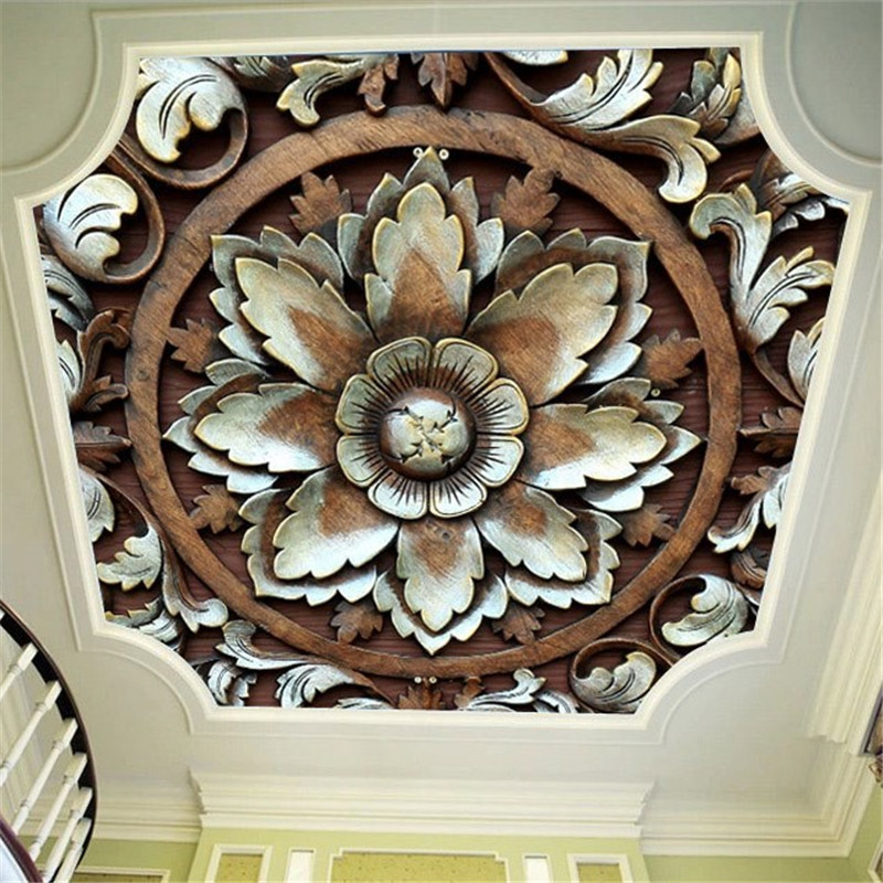Large Custom Wall Paper 3D European Retro 3D Wood Carving Flower Roof Mural Wallpapers 3D for Living Room Bedroom Ceiling Decor