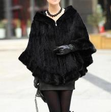 High Quality Mink Fur Hand Knitted Women's Real Fur Coats Hooded Natural Fur Jackets Ponchos And Capes Black/Brown DA-68