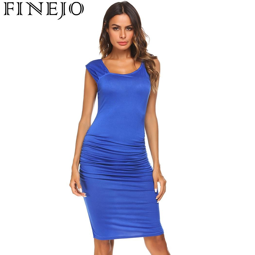 FINEJO Women Dress Summer Asymmetrical Neck Sleeveless Ruched Party Pencil Dress 2019 Bodycon Ladies Femme Dresses Vestidos in Dresses from Women 39 s Clothing