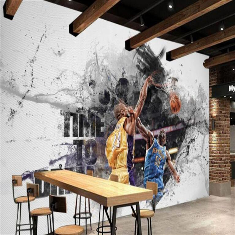 Beibehan Custom Fashion Personality Wallpaper Basketball Superstar Farewell Decoration Cafe Club Background Wallpaper