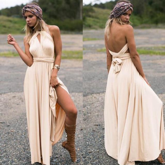 b7d46ed38 2016 verano sexy mujeres vintage Bohemia Maxi Vestido de playa hippie Boho  chic vestido largo damas