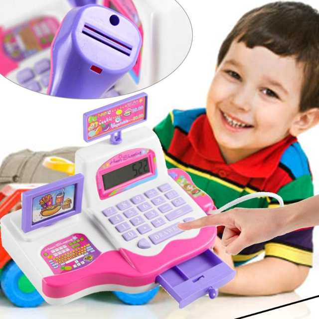 Online Kids Simulation Supermarket Cash Register Electronic Toys With Foods Basket Money Music Light Children Learning Pretend Play Toy Aliexpress
