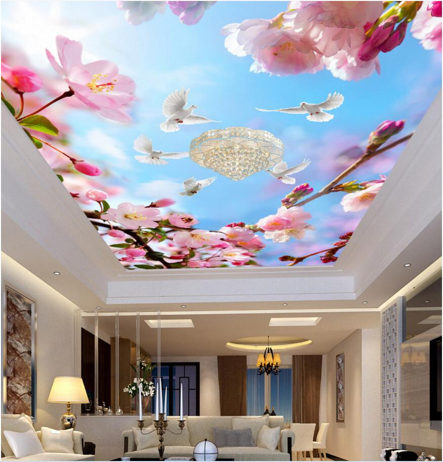 Custom photo 3d wallpaper ceiling mural Beautiful flowers and white doves room painting 3d wall murals wallpaper for walls 3 d 3d ceiling murals wallpaper aurora zenith living room ceiling mural custom photo murals wallpaper 3d ceiling