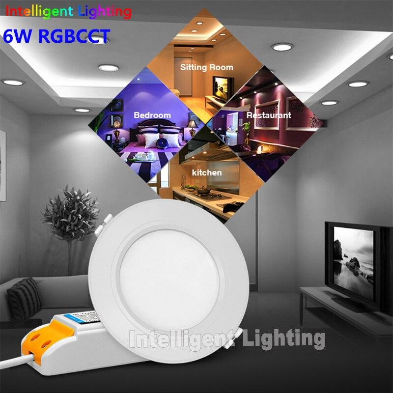 2.4G Remote + Mi-light wifi controller + 1x 6w/12w, 2x 6w/12w, 3x 6w/12w, 4x 6w/12w RGBCCT (RGB+Warm White/White) led downlight mi light 2 4g 1pcs lot 12w led downlight remote rf control wireless bulb lamp white warm white down light 85 265v