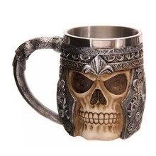 1 Pieza Llamativa Skull Drinkware Jarra Taza de Cerveza Del Cráneo Gótico Casco Vikingo Guerrero Buque