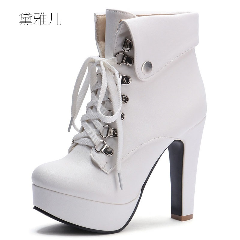 Small Size 31-43 2018 White Lace-up High Heel Ankle Boots for Women Ladies Shoes Woman Girl Spring Autumn Black Comfortable