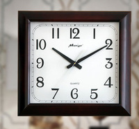 Authentic Chinese large square living room wall clock wood 20 inches brown environmental high quality modern design wall clock