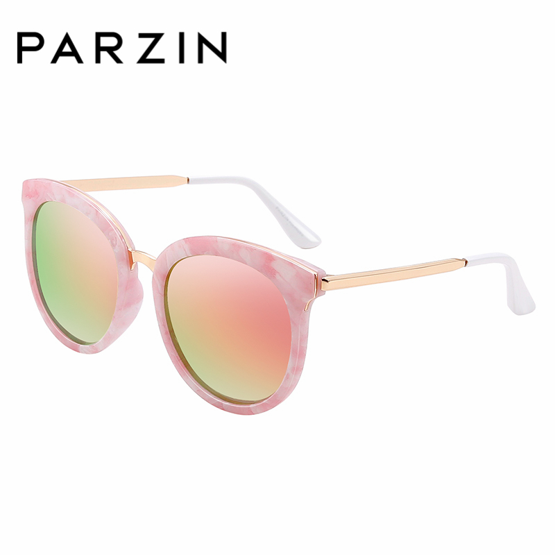 Besten Parzin Fahrer Für Gläser Qualität Anti blue Top Frauen uv400 Polarisierte Kollokation Retro pink Silver Beschichtung Sonnenbrille Runde black qrqf1O