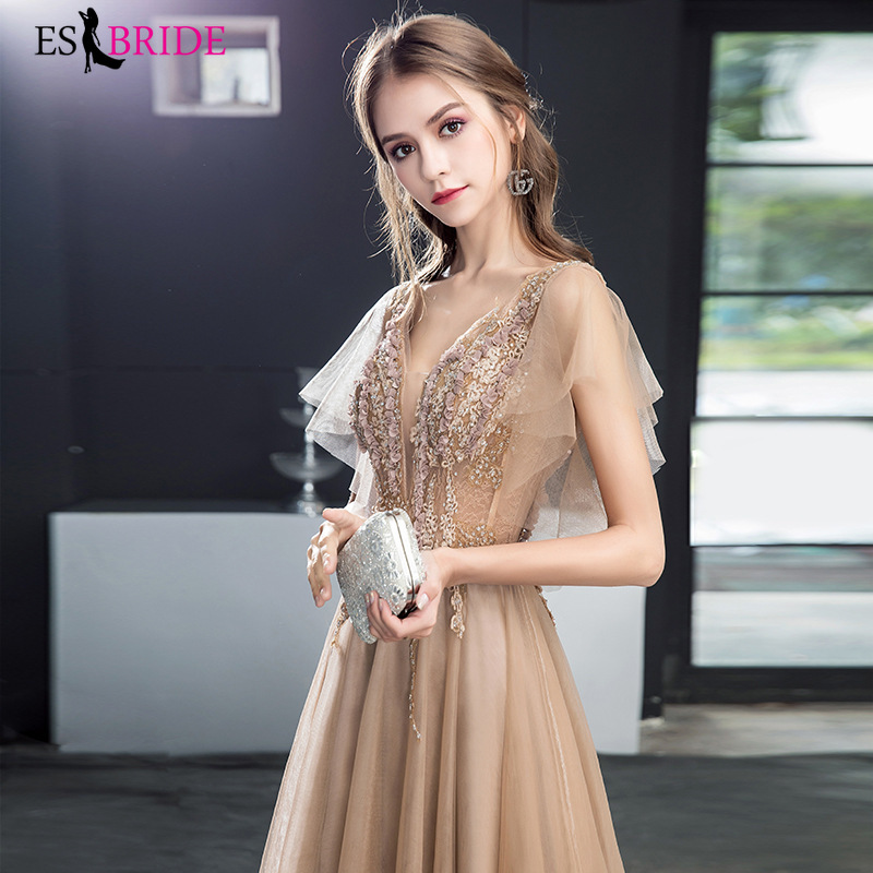 New Arrival Ladies Long Evening Dresses 2019 Elegant Sleeveless V-Neck Lace Plus Size Formal Gowns A-line Robe De Soiree ES1275
