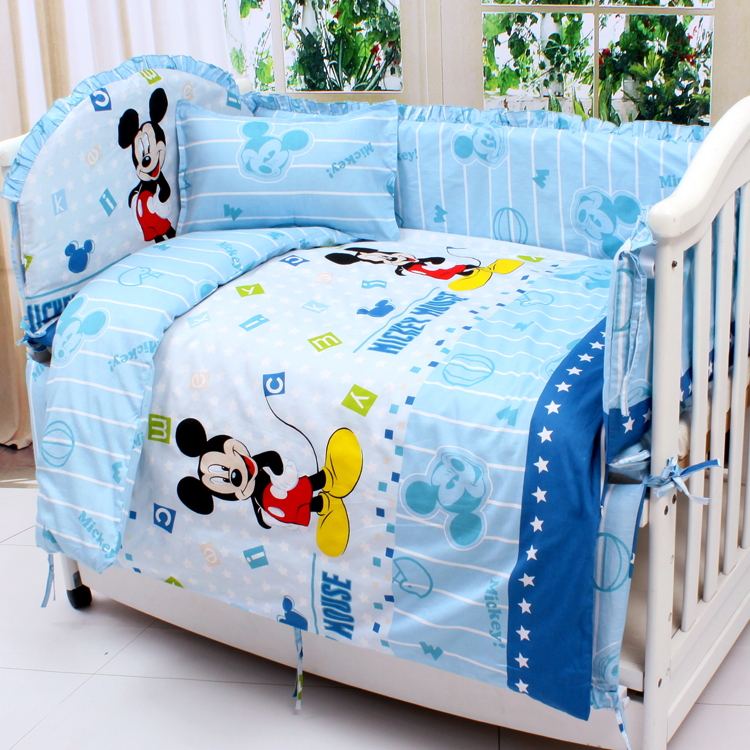Фото Promotion! 7pcs Cartoon Baby crib bedding set in cot bed set bedclothes (4bumper+duvet+matress+pillow). Купить в РФ