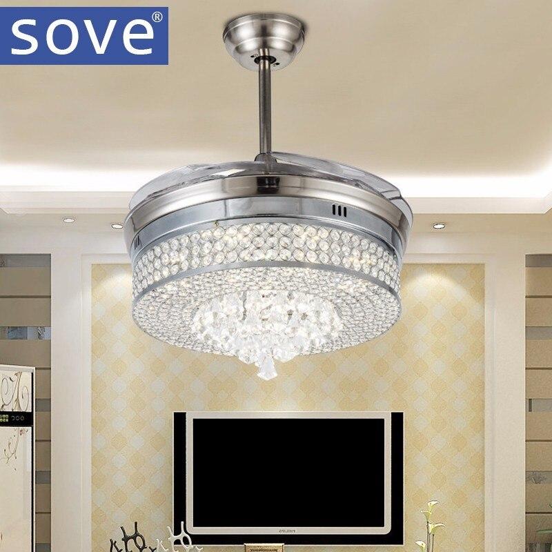 Luxury Led Crystal <font><b>Ceiling</b></font> Fans With Lights Modern Bedroom Living Room Folding <font><b>Ceiling</b></font> Fan Remote Control Lamp