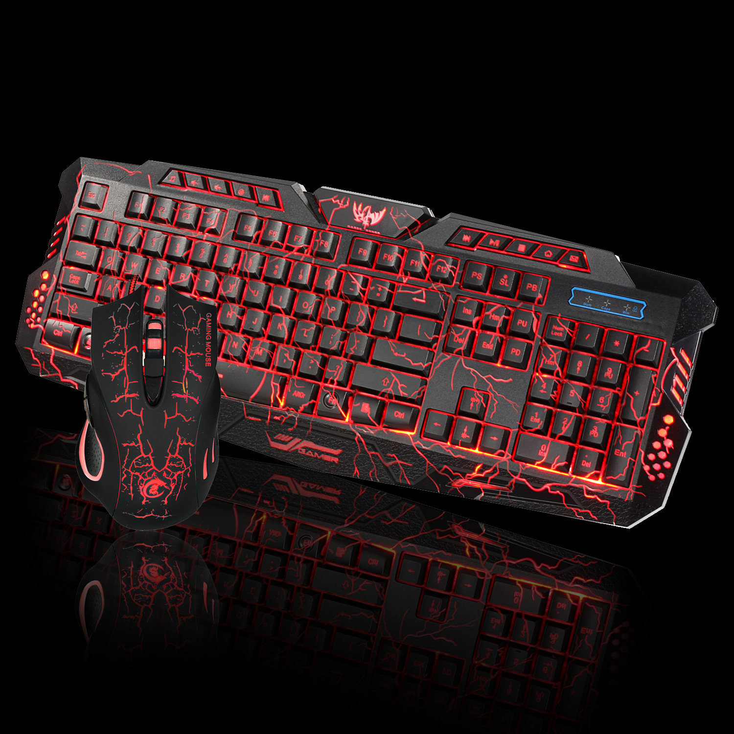 J10 6 Key 5500dpi Gaming Mouse and Three-color Backlight English / Russian Gaming Keyboard Set ...