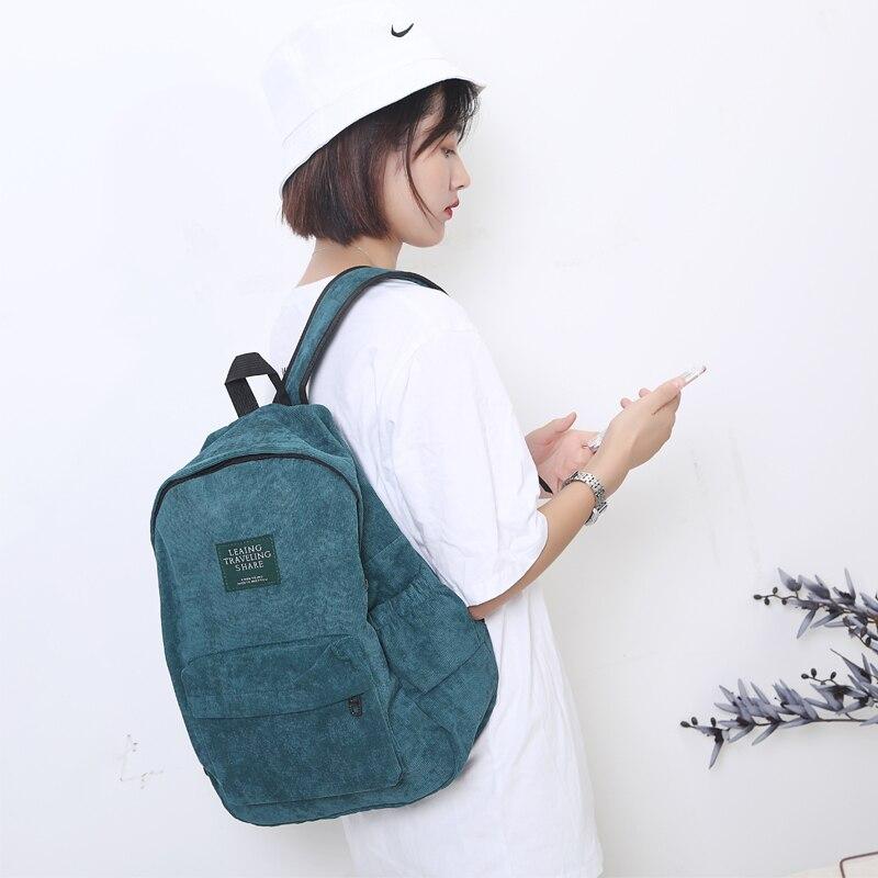 Corduroy Backpack Cloth-Bag Female Teenage-Girls Large-Capacity Vintage Striped Women