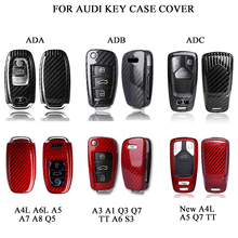 Carbon Fiber Car Styling Auto Key Protection Cover Case For Audi A1 A3 A4 A4L A5 A6 A6L A7 A8 Q3 Q5 Q7 S3 Car Holder Shell car styling accessories for audi a6l q5l a3 q3 q5 s3 a4 a4l q7 a5 2018 key bag cover abs decoration protection key case for car