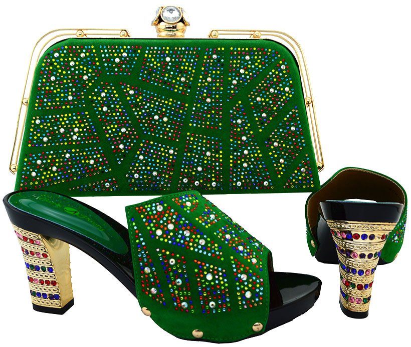 ФОТО Africa New Fashion Woman Shoes With Matching Bags Set Summer High Heel Shoes And Bag Set For Party Dress Size 38-43 BCH-19