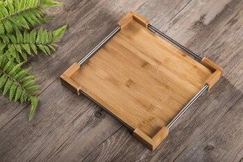 カスタマイズされたエレガントなシンプルさ竹木製トレイラバーウッド長方形のティーフルーツプレートレストランディスクロゴ印刷