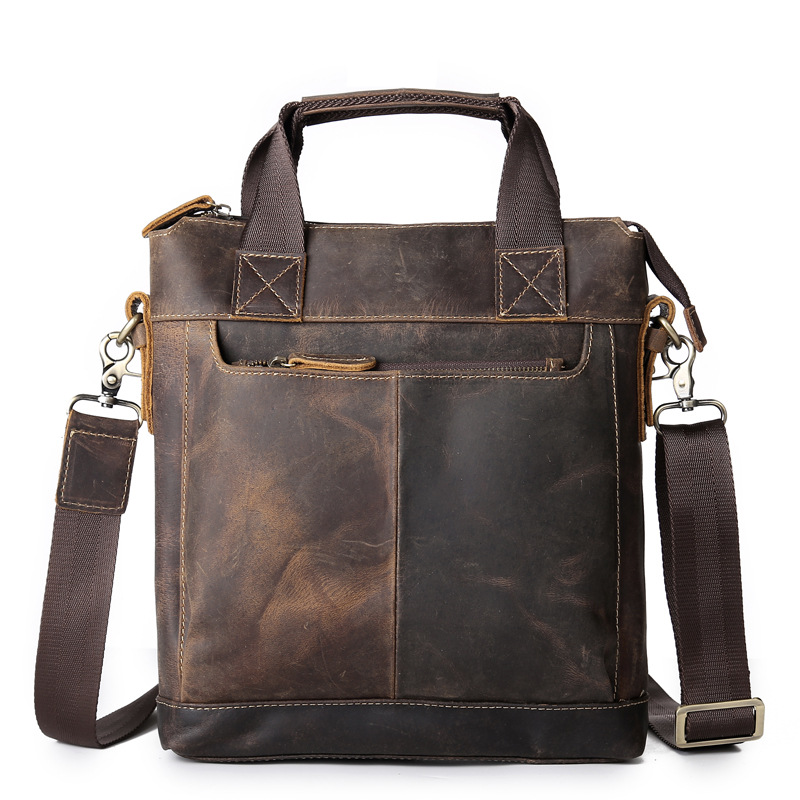 Nesitu Vintage Brown Genuine Leather Men Briefcase Thick Crazy Horse Leather Shoulder Messenger Bags Male Portfolio M5803