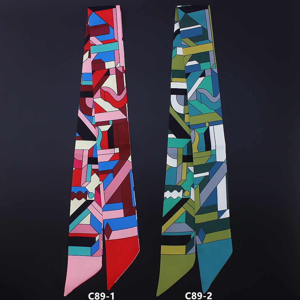 2019 nuevo seda toalla geométrico de seda a rayas toalla mujer corbata bolsa de mango de cinta cinturón bufanda chales y boleros de lujo bufanda