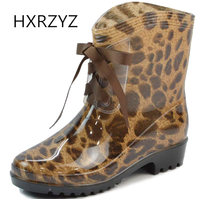 3fde5ab16849 HXRZYZ women s rain boots Leopard rubber boots spring and autumn new  fashion shoes women PVC lace-up Slip-resistant ankle boots