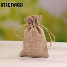 50Pcs 10x14cm New Brand Vintage Natural Burlap Hessia Candy Gift Bags Wedding Party Favor Pouch Jute Gift Bags(China)