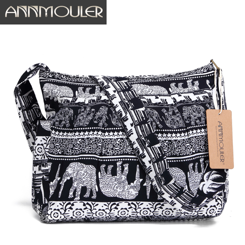 Annmouler Soft Women Crossbody Bag Large Capacity Shoulder Bag Elephant Printed Messenger Bag A4 Paper Hobo Bag with 2 Pockets