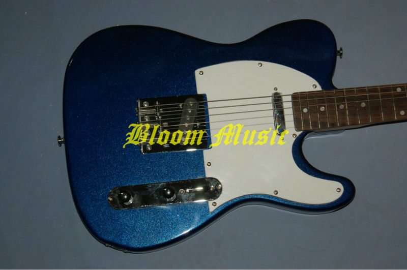 Telecaster metalic blue electric guitar chrome parts white pickguard free shipping Bloom Music