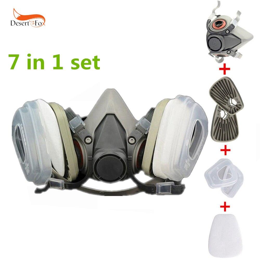 Miel 7 En 1, La Mitad De La Cara Máscara De Gas Para 6200 De 7502 De Pulverización De Pintura Polvo Protector Respirador Traje De Trabajo De Seguridad De Filtro Máscara De Polvo