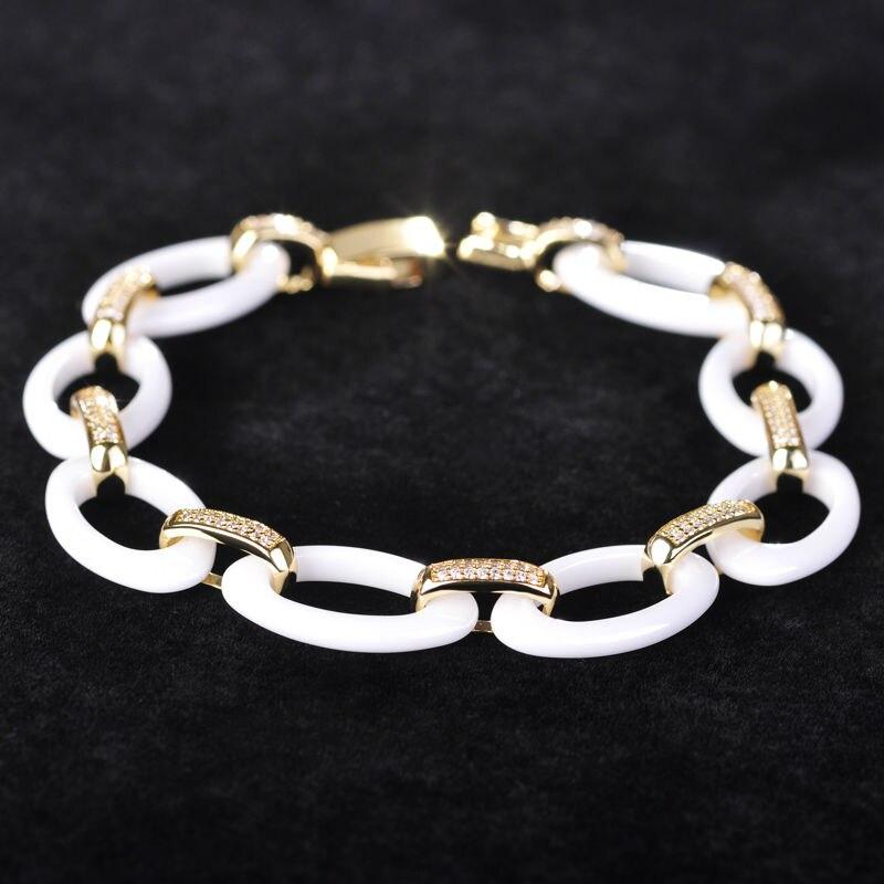Dazz Luxury White Clusters Oval Ceramic Bracelet For Women Man Gold Silver Color Fine Zircon Stone Porcelain Wrist Pulsera