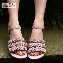 2017 summer new arrival genuine leather women sandals flower sweet casual vintage low heels open toe women shoes K308-08